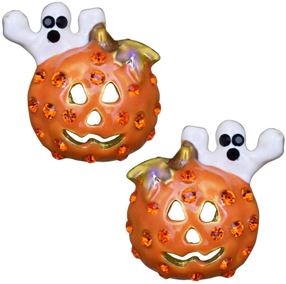 Kirks Folly Happy Jack Pierced Earrings (Goldtone) Elegant Halloween. Pumpkin, Ghost