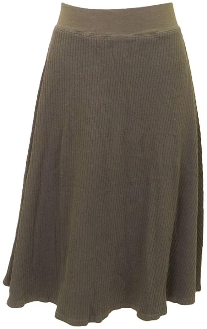 Hard Tail Wide Ribbed Knee Length Skater Skirt CMR-04