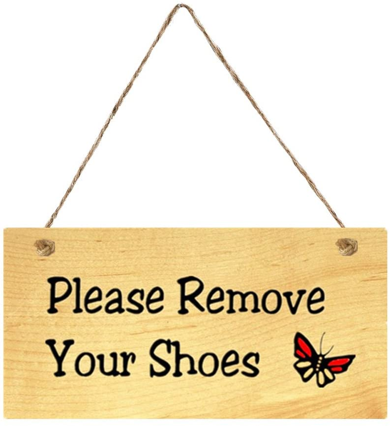 VORCOOL Please Remove Your Shoes Doorplate Plaque Wooden Hanging Door Sign Board for Home Cafe Shop Store