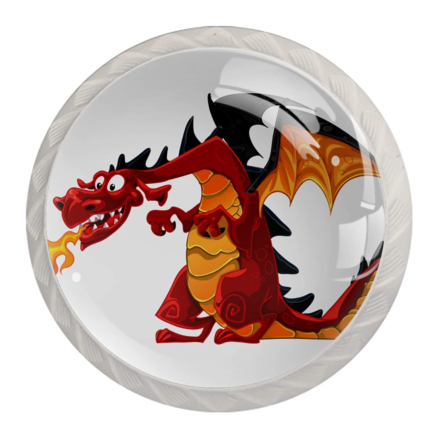 Kitchen Cabinet Knobs Red Fire-Breathing Dragon Kitchen Cabinet Knobs Clear Glass Bookcase Knobs for Boys Girls (4pcs) 1.38x1.10IN