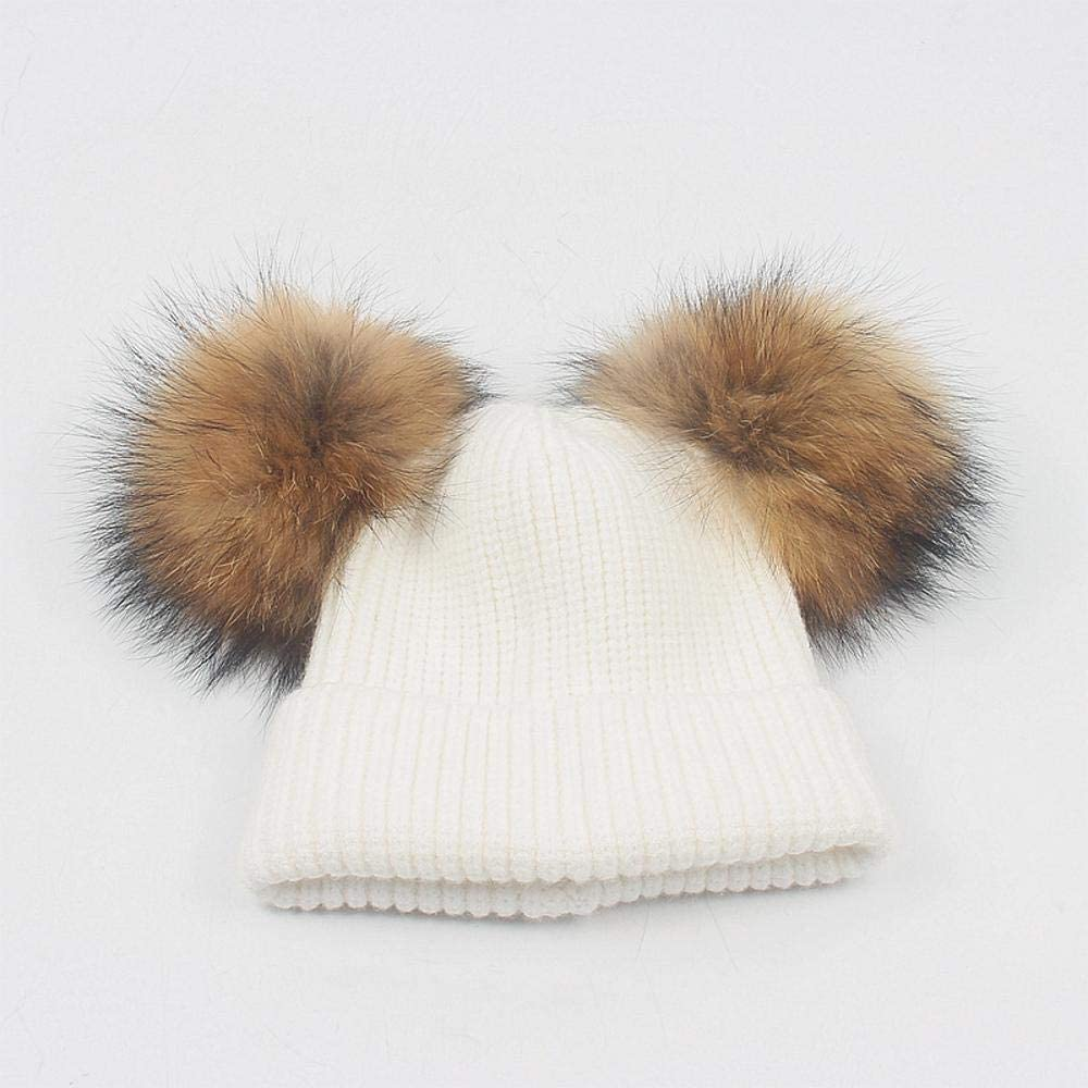 Myzixuan Children's Double Hair Ball hat Cute Male and Female Baby Hair Ball roll Knit hat Fall Winter Warm Ear Cap