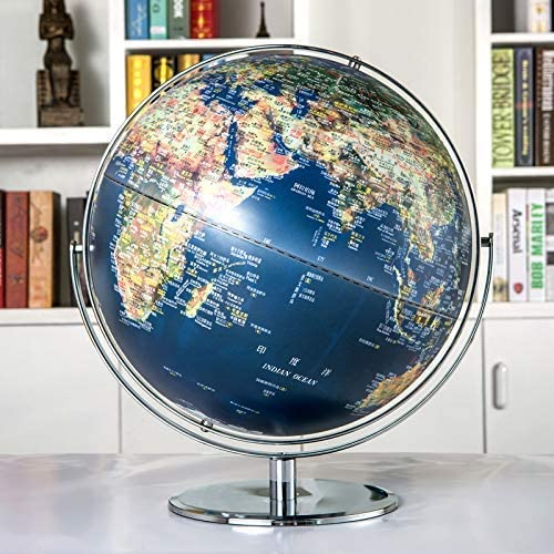 SJSLSJSL Stereoscopic Globe, Kids Adult Metal Education Geographic Interactive Earth Globes Desktop Decoration World Globes Educational Toy Home Office Ornament