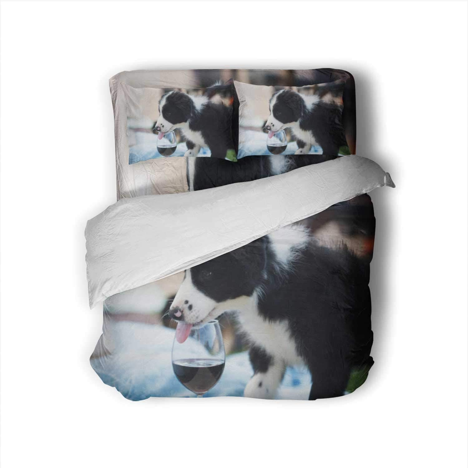 Hitecera Border Collie Puppy with Tongue in a red Wine Glass Drinking,100% Cotton King Size Sheets Set - Soft 4 Piece Sheets and Pillowcases Puppy King
