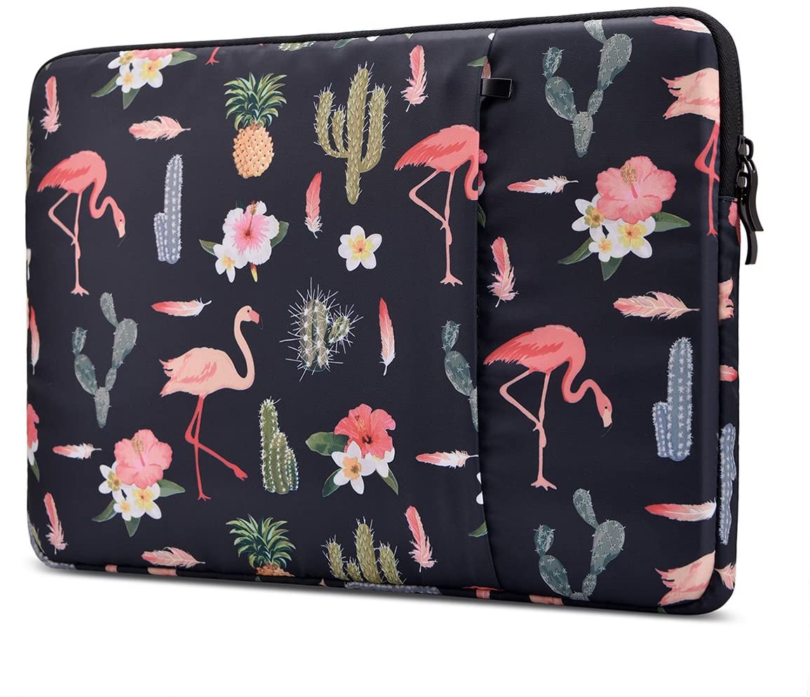 Lamyba Shockproof 14-15.4 Inch Laptop Sleeve for 15.4 Inch MacBook Pro Retina / 15 Inch New MacBook Pro with Touch Bar 2016-2019 (A1990 / A1707) Case with Accessory Pocket Flamingo, Black