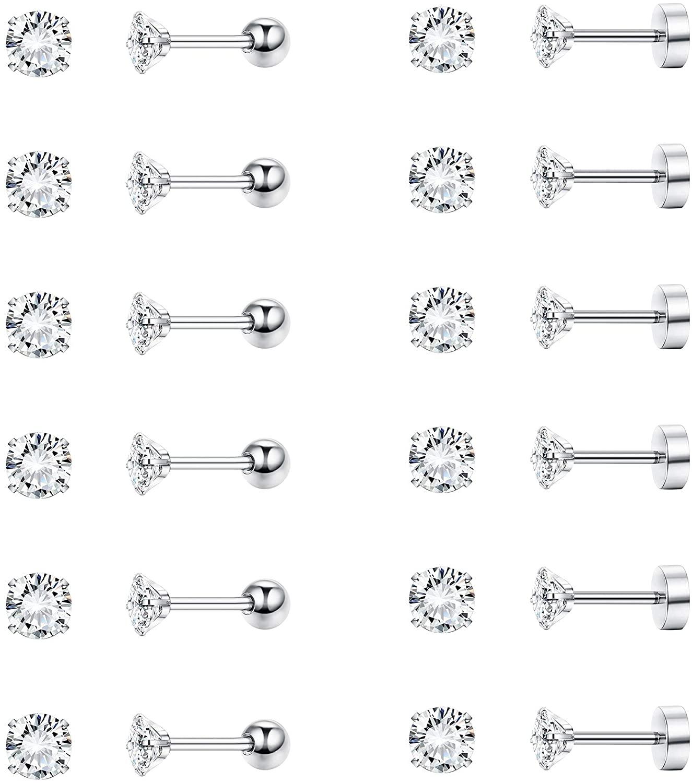 FIBO STEEL 12 Pairs Stud Cartilage Earrings for Women Men Screw Barbell Flat Back Ear Piercing Jewelry Set 16G Round CZ 2-6MM