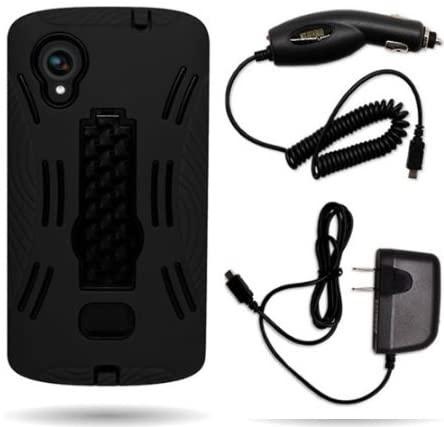 Cerhinu CoverON? LG Google Nexus 5 Hybrid Dual Layer Kickstand Case Bundle with Black Micro USB Home Charger & Car Charger...