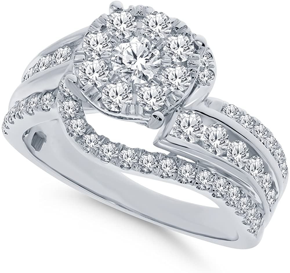 10K White Gold 1.50 TCW Real Diamond Engagement Ring Center .15 Carat Diamond Wedding Bridal Ring Fine Diamond Jewelry (1.50 Ct, H-I Color, I1-SI2 Clarity), Size 7