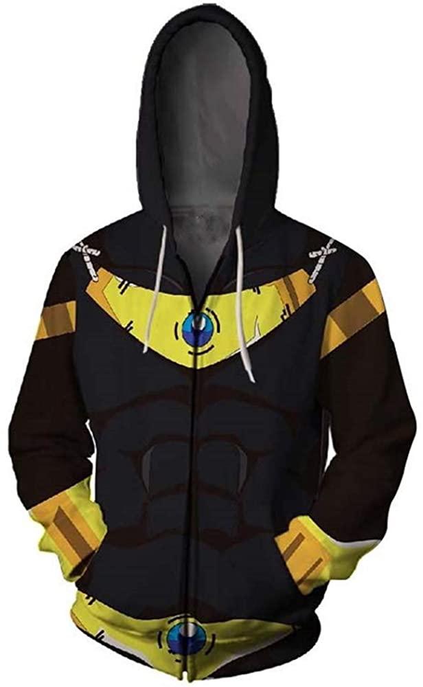 LeeQn Unisex Anime Cosplay 3D Pullover Print Hooded Sweatshirt Hoodie Coat Top Cremallera Dragon Ball (S-3XL)