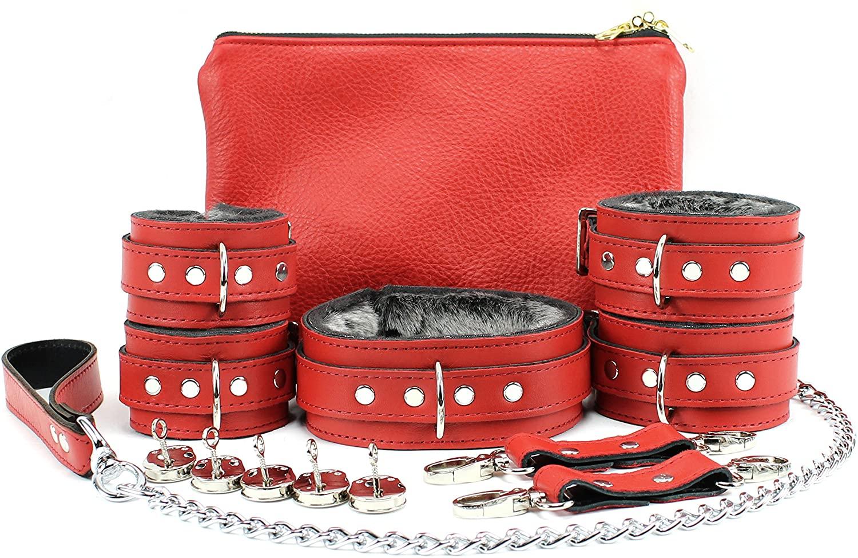 Budapest Set Latigo Leather Stylish Collar Wrist Cuffs Ankle Cuffs Chain Leash