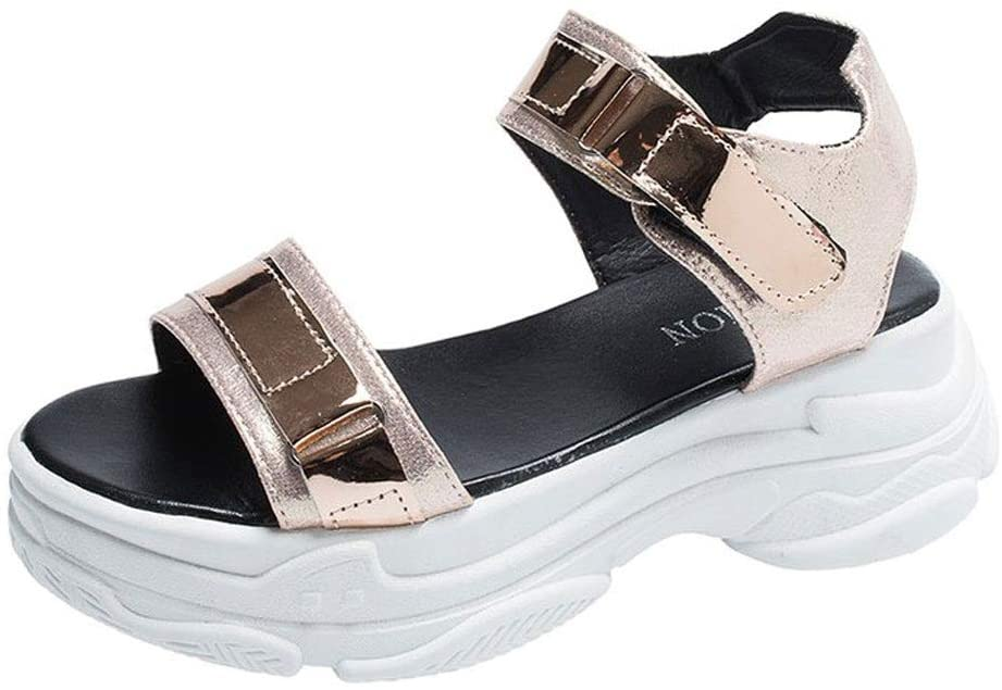 SHDOU Summer Fashion Women Sandals Dropshipping PU Fish Mouth 6cm High Heel Platform Open Toes Female Sandals Shoes Lady Wedges (Color : Gold, Size : 36 EU)