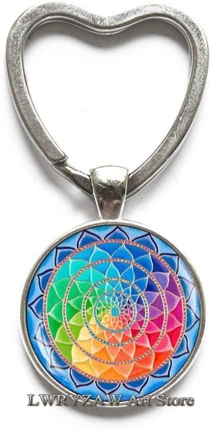 Colorful Mandala Keychain, Colorful Buddhist Mandala Key Ring, Spiritual Yoga Jewelry Gift, Glass Dome Key Ring,M22