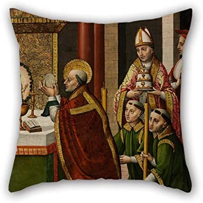 PLATIM Cushion Covers 20 X 20 Inches / 50 by 50 cm(Each Side) Nice Choice for Her Divan Dinning Room Gril Friend Family Son Oil Painting Master of Portillo - The Mass of Saint Gregory The Great