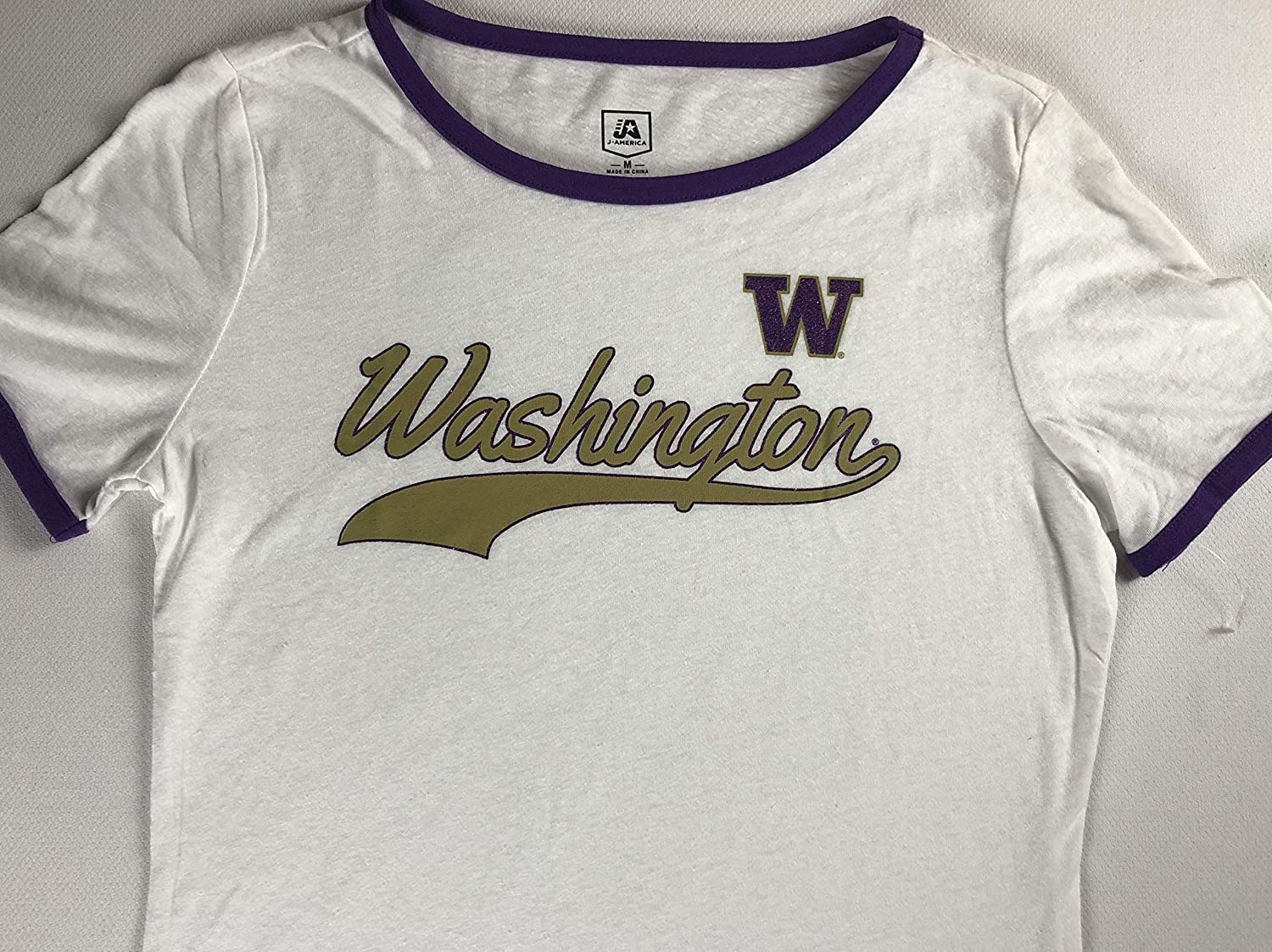 Huskies Washington T-Shirt Womens SZ S/M Student Alumni UW Sparkle Design Tee