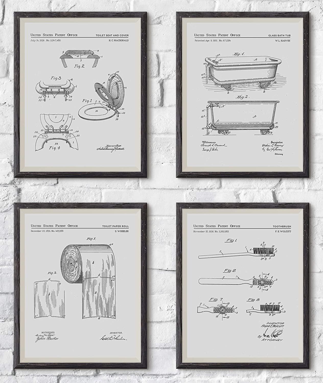 Madison Oak Design Set of 4 Bathroom Patent Art Prints | 8x10 Portraits Include: Bath Tub, Toothbrush, Toilet and Toilet Paper | Bathroom Decor, Bath Room Wall Prints, Wall Art | UNFRAMED