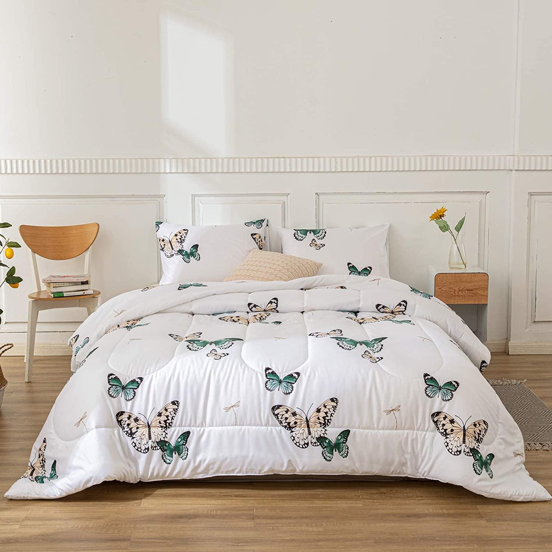 Merryword Butterfly Comforter Set Green Butterfly Comforter Green Butterflies and Dragonfly Printed Down Alternative Comforter Microfiber Bedding King 1 Comforter 2 Pillowcases (King, Butterfly)