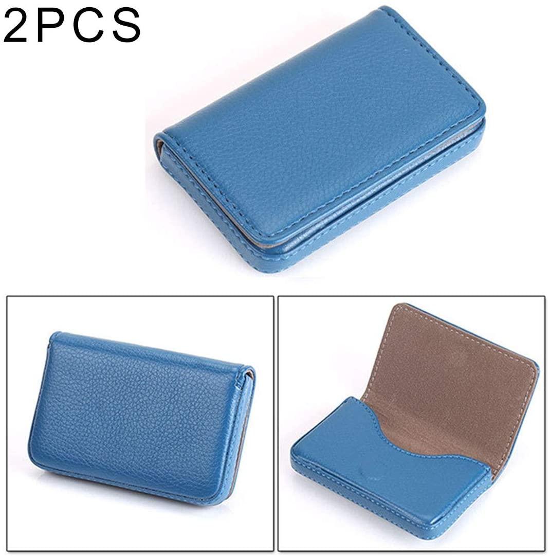 Store Objects 2 PCS Premium PU Leather Business Card Case with Magnetic Closure, Size: 106.51.7cm(Black). (Color : Blue)
