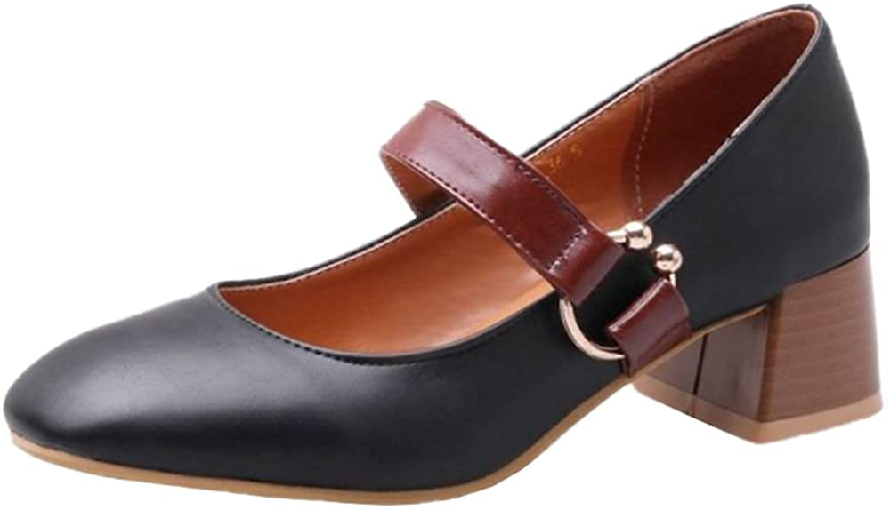 SJJH Fashion Marry Jane Shoes with Chunky Heel and 3-Colors