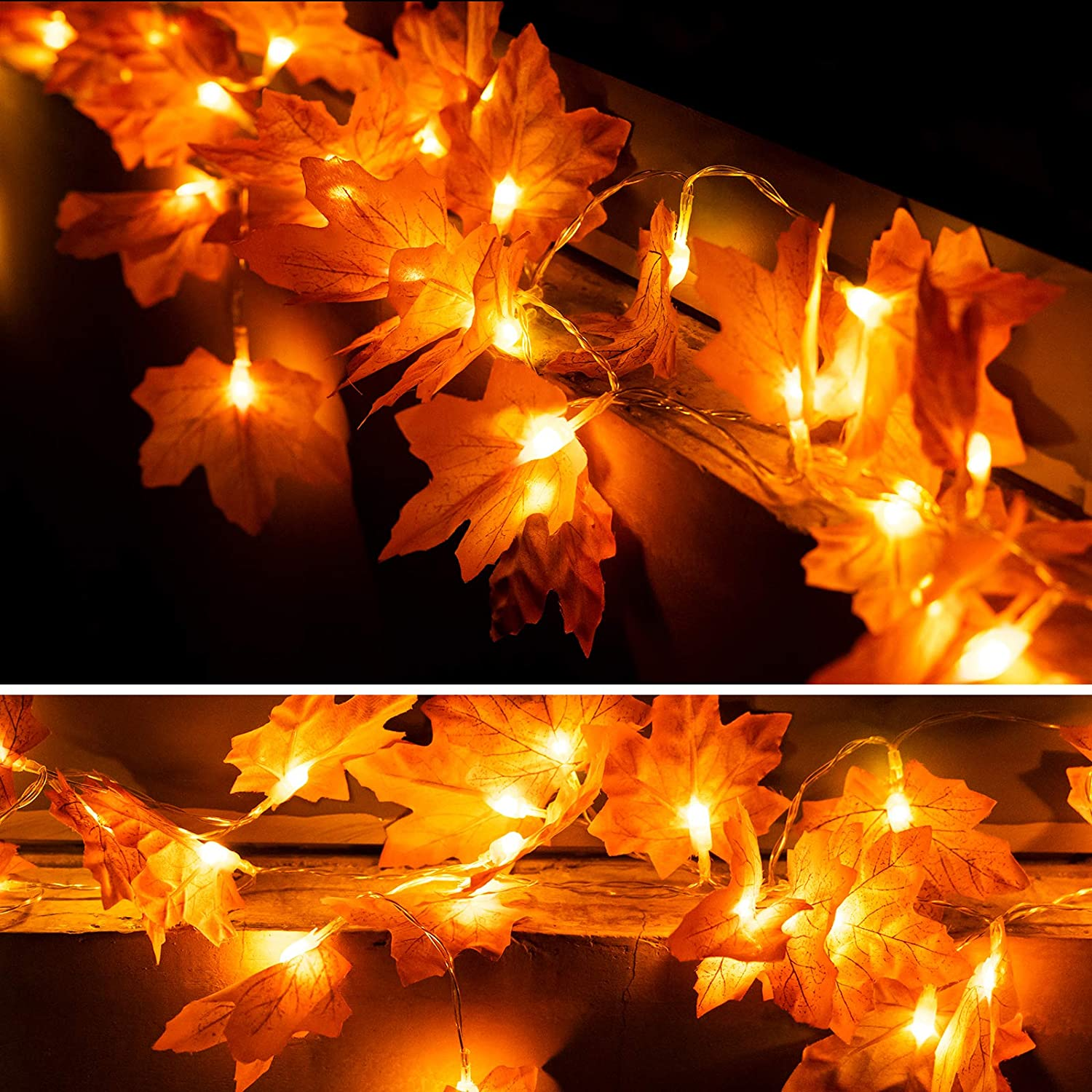 OWUSHEE Fall Decor String Light, Thanksgiving 20 Led Maple Leaves Lights, Halloween Decorations Lights Autumn Leaf Fairy Lights for Home Holiday Garland Outdoor Indoor Gift (Stock-A)