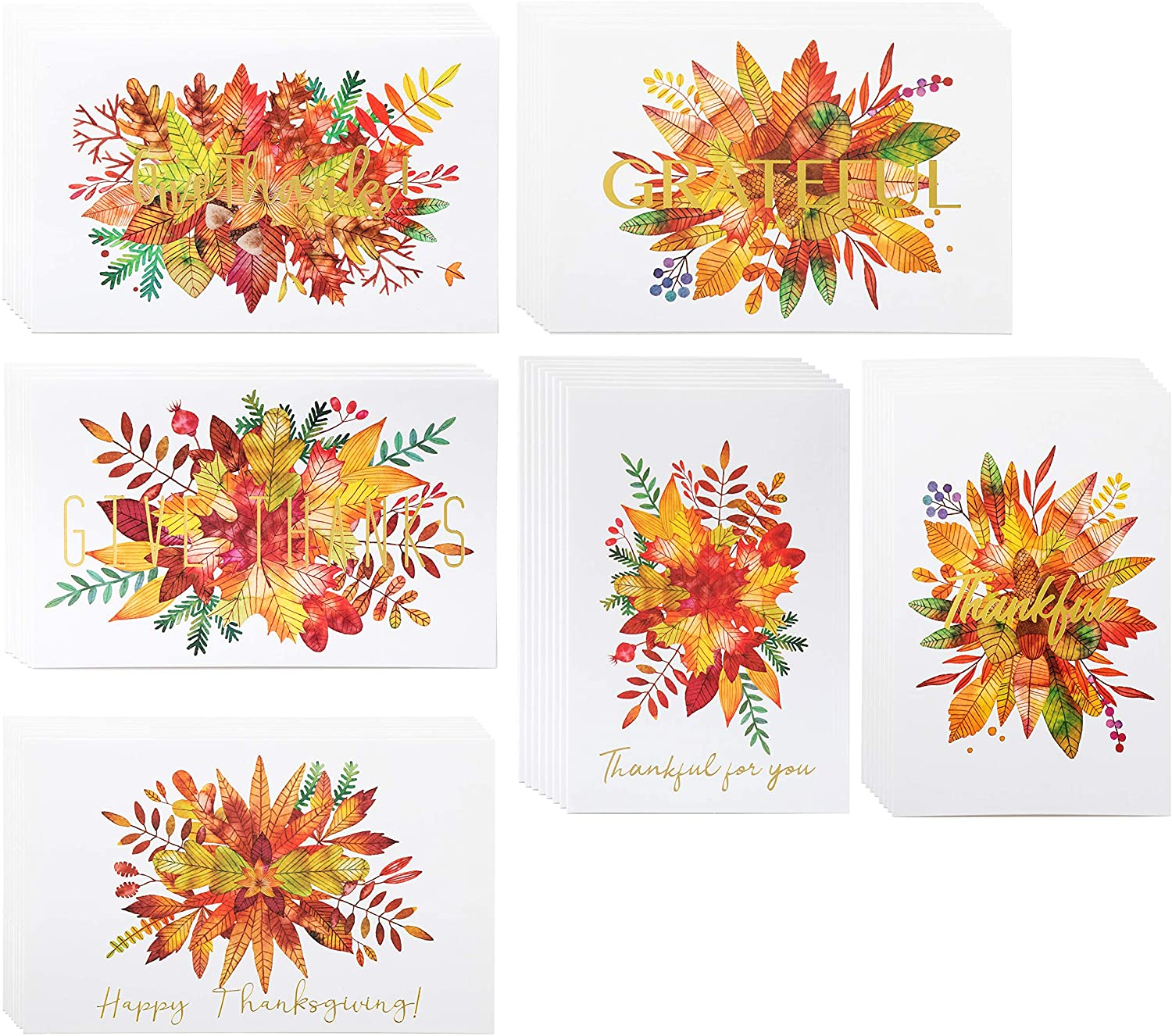 Thanksgiving Cards - 48-Pack Premium Fall Greeting Cards with Gold Foil, Grateful Note Cards, Blank on the Inside, 6 Different Fall Foliage Watercolor Designs, Includes Kraft Envelopes, 4 x 6 Inches