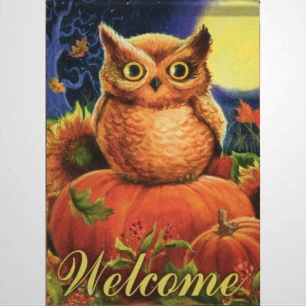 BYRON HOYLE Pumpkin Owl House Flag Fall Outdoor Garden Flag Yard Flag Farmhouse Decor Yard Holiday Seasonal Outdoor Indoor Decor