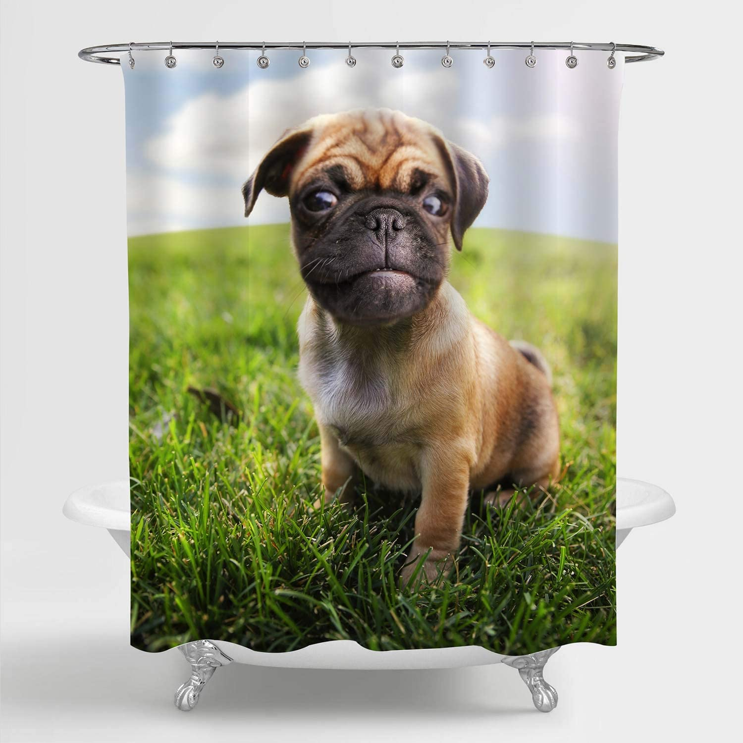 MitoVilla Dog Shower Curtain Set with Hooks for Kids Bathroom Decor, Cute Baby Pug Chihuahua Mix Chug at a Garden Grassland Art Print Bathroom Accessories, Brown, Green, 72