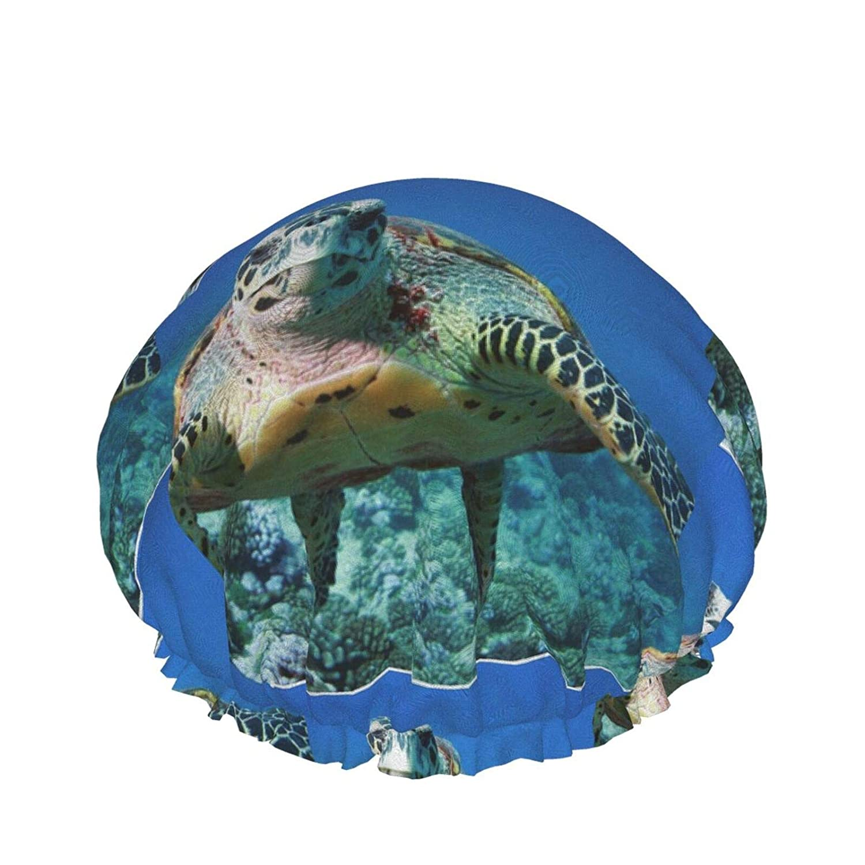 Shower Cap For Women Undersea Turtle Blue Ocean Large Reusable Shower Head Hair Cover Cap Hat Elastic Hair Bonnet Long and Thick Hair Protection Bath Caps Waterproof Salon Spa