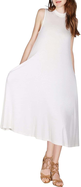 2LUV Women's Sleeveless Mock Neck Tunic Swing Dress with Side Pocket