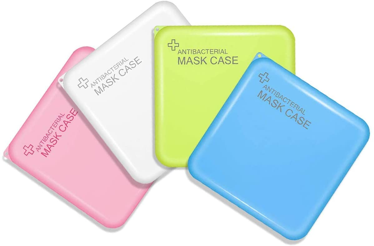 WAUOC 4 Pack Plastic Storage Clip Reusable Face Cover Holder Folder Carry-on Mask Case Keeper Dustproof Storage Box