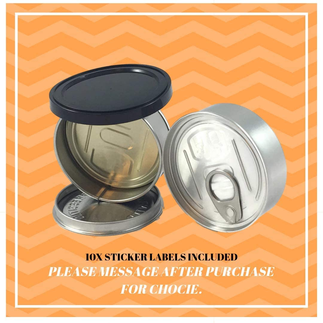 PRESSITIN Tuna Tin Cans 100ML FITS 3.5/4 GRAM - BLACK LIDS INCLUDED - Self Hand Sealed NO MACHINE NEEDED - Smell Lock Tamper Evident Proof (120)