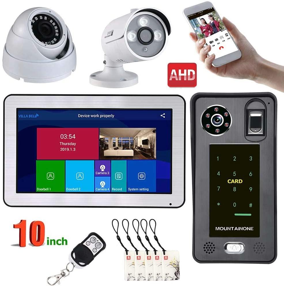HBHYQ 10 inch WiFi Fingerprint IC Card Video Door Phone Doorbell Intercom System and 2CH AHD Security Camera,Support Remote APP intercom,Unlocking,Recording,Snapshot