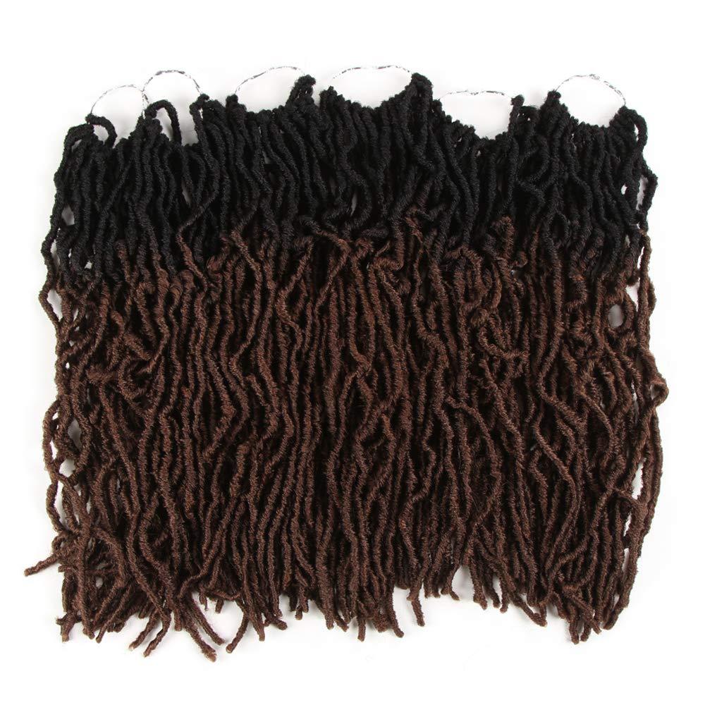 FASHION IDOL Faux Locs Crochet Hair 20 Inch Natural Wavy Locs Crochet Hair 6 Bundles Crochet Dreadlocks Extensions for Black Women Light Auburn Ombre (TT1B/30)