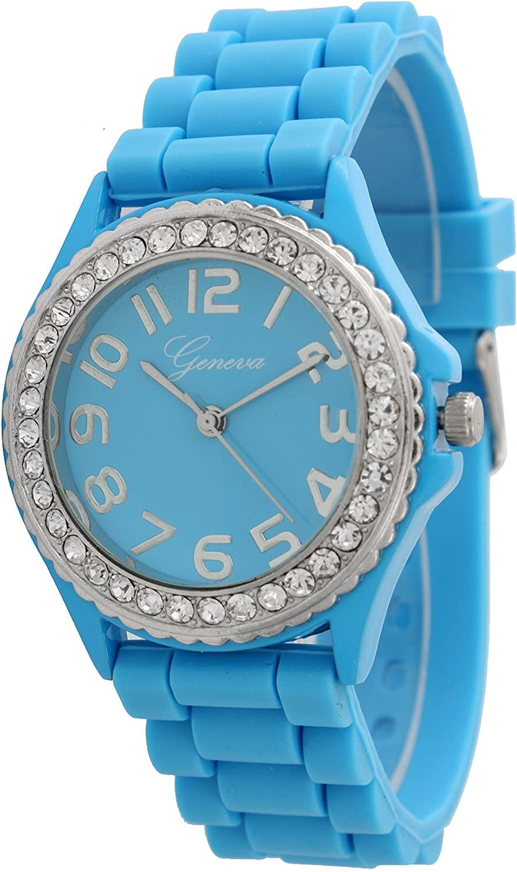 Geneva Silicone Watch Unisex Crystals Rhinestones Wrist Watch Medium Size Dial (Sky Blue)