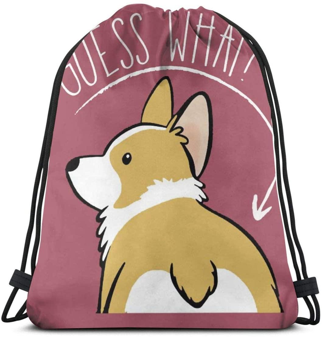 Drawstring Bags Corgi What Backpack Pull String Bags Bulk Sports Storage Gym For Women Shoulder Travel Rucksack
