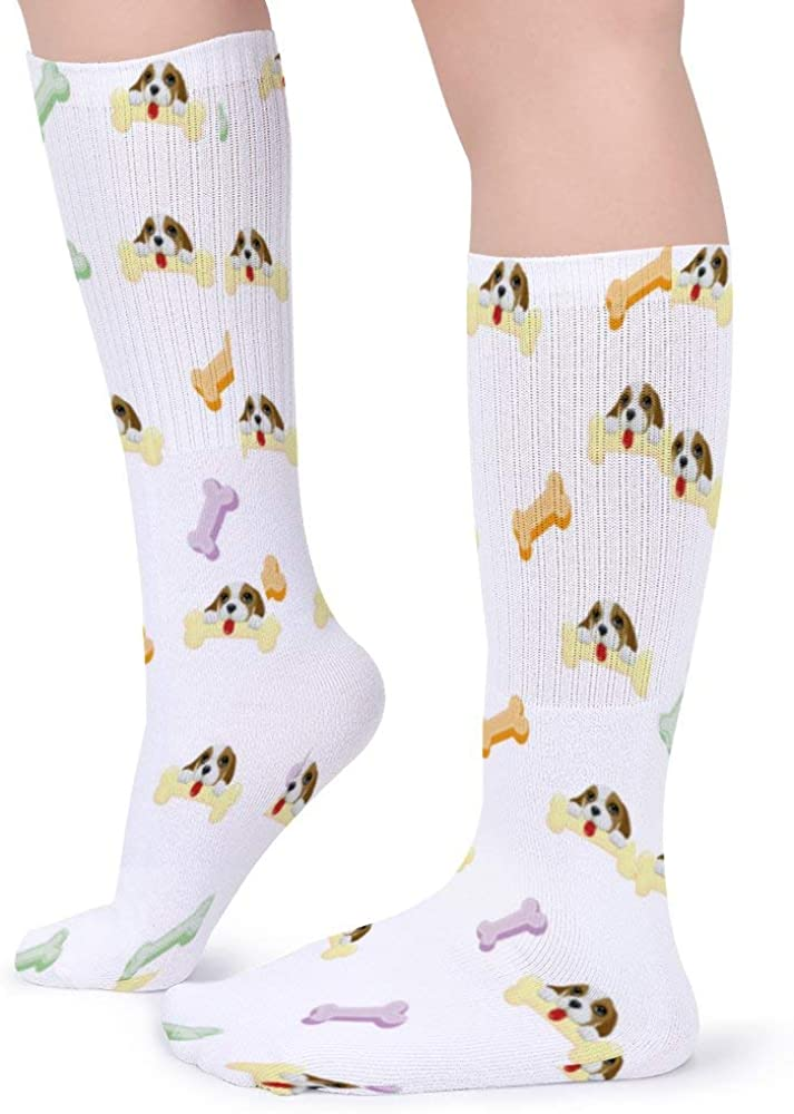 Classics Personalized Long Tube Stockings Shiba Inu Colorful Bones Crew Socks 15.7inch One Size Athletic Stockings for Men Women