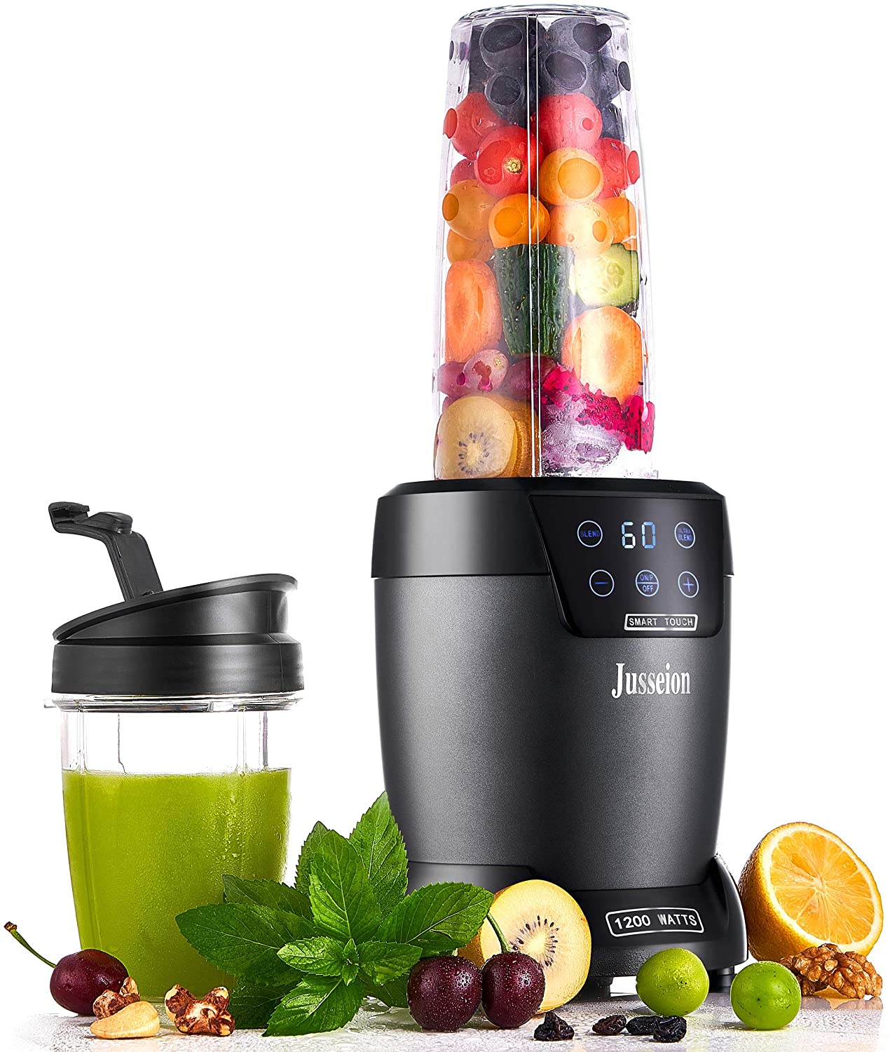 Jusseion Auto-Blend Smoothie Blender - 1200W Bullet Blender for Shakes and Smoothies - Easy Clean Countertop Blender with Touch Screen and Timer - 18 and 35 Ounce Blender Cups with To-Go Lids