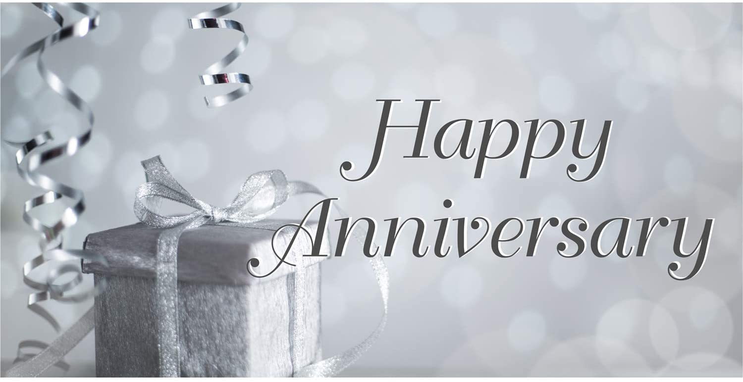 HALF PRICE BANNERS | Happy Anniversary Vinyl Banner -Indoor/Outdoor 2X4 Foot -Silver | Includes Zip Ties | Easy Hang Sign-Made in USA