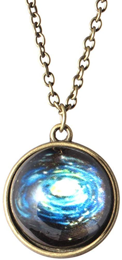 UOKNICE BLOUSE Vintage Cat Eye Time Gem Pendant Necklace, Hot Dreamy Crystal Ball Star Long Glass Retro Pattern Pendant Necklace Jewelry, Double Sided Glass Dome Gift for Women