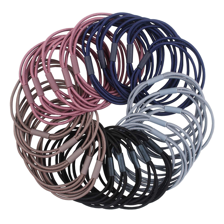 Hair ring (Multicolor) 50 Pcs Elastic Hair Bands, 3 in 1 Girls Ponytail Holders, Hair Elastics, Women Hair Ties, Black Hair Bands Bulk Hair Accessories for Thick Heavy and Curly Hair