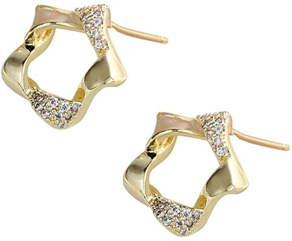 YAZILIND Simple Hollow Star Stud Earrings Rhinestone Ear Jewelry Women Girls Birthday Gift