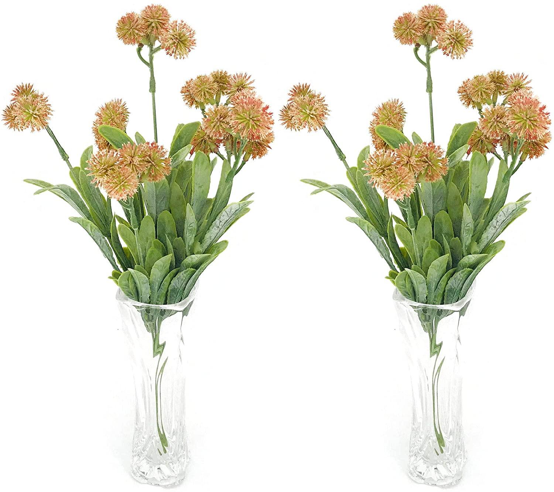 Lily Garden Mini Artificial Allium Bush Pack of 2 (Orange)