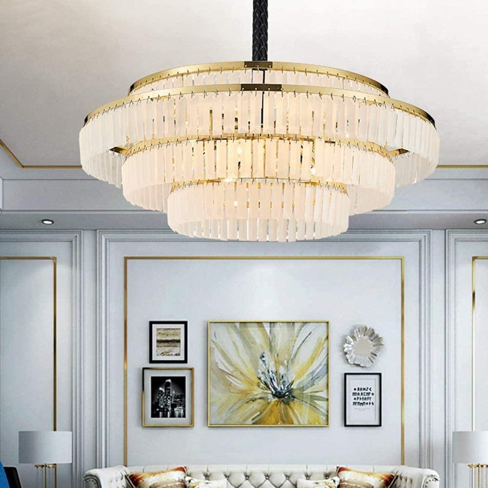 Waitousanqi European Modern Villa Hotel Restaurant Living Room Dining Room Warm Light LED Lamp Round Diameter 80cm Gold Luxury Frosted Crystal Chandelier