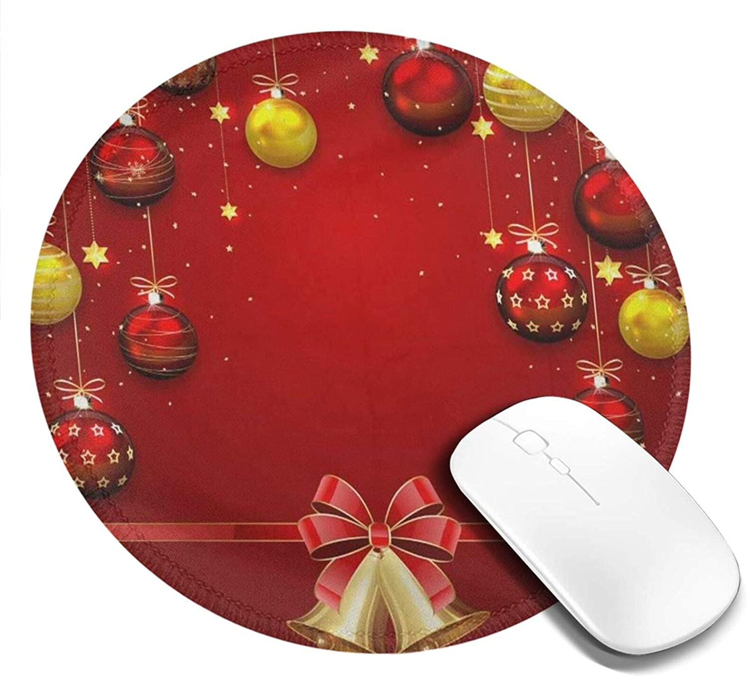Mini Mouse Pad Round Christmas Balls Bells Computer Mouse Pads Laptop Mousepad Circle Small Cute Personalized Gaming Mouse Mat for Women Kids Girls Boys Men Non Slip 7.9 X 7.9