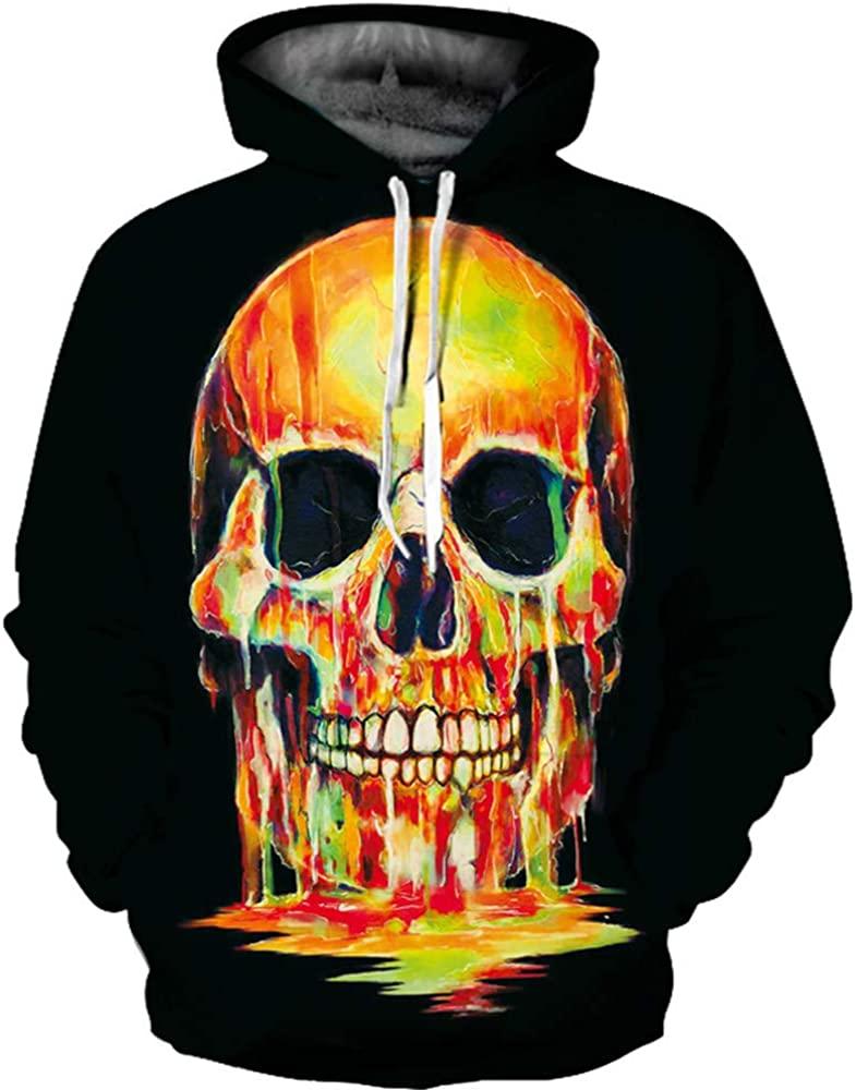 LeeQn Unisex Anime Cosplay 3D Pullover Print Hooded Sweatshirt Hoodie Coat Top Cremallera del Horror del cráneo (S-3XL)