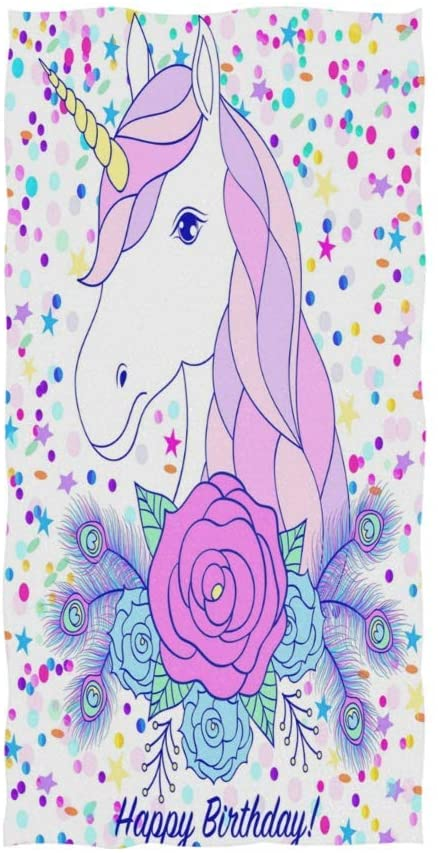 N\ A Bath Hand Towels Decorative Unicorn Happy Birthday Women's Large Soft Face Towels Bathroom Hotel Gym Spa Guest Salon Pool Towels Left Hand Towels Decorative 28in X 16in