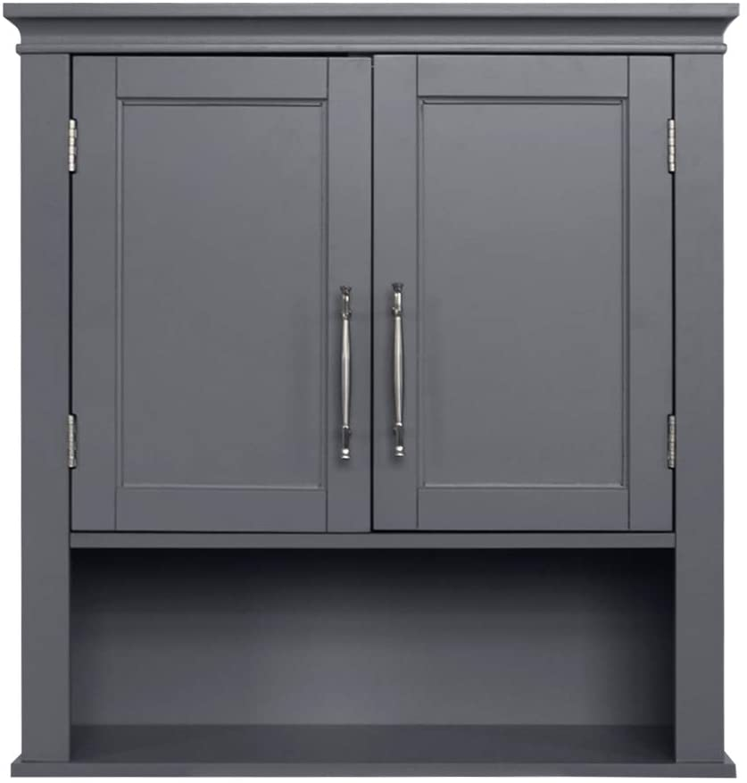 Anpay Storage Cabinet Double Door Wooden Bathroom Cabinet with 2 Shelves Home Fashions Medicine Cabinet Cupboard, Grey