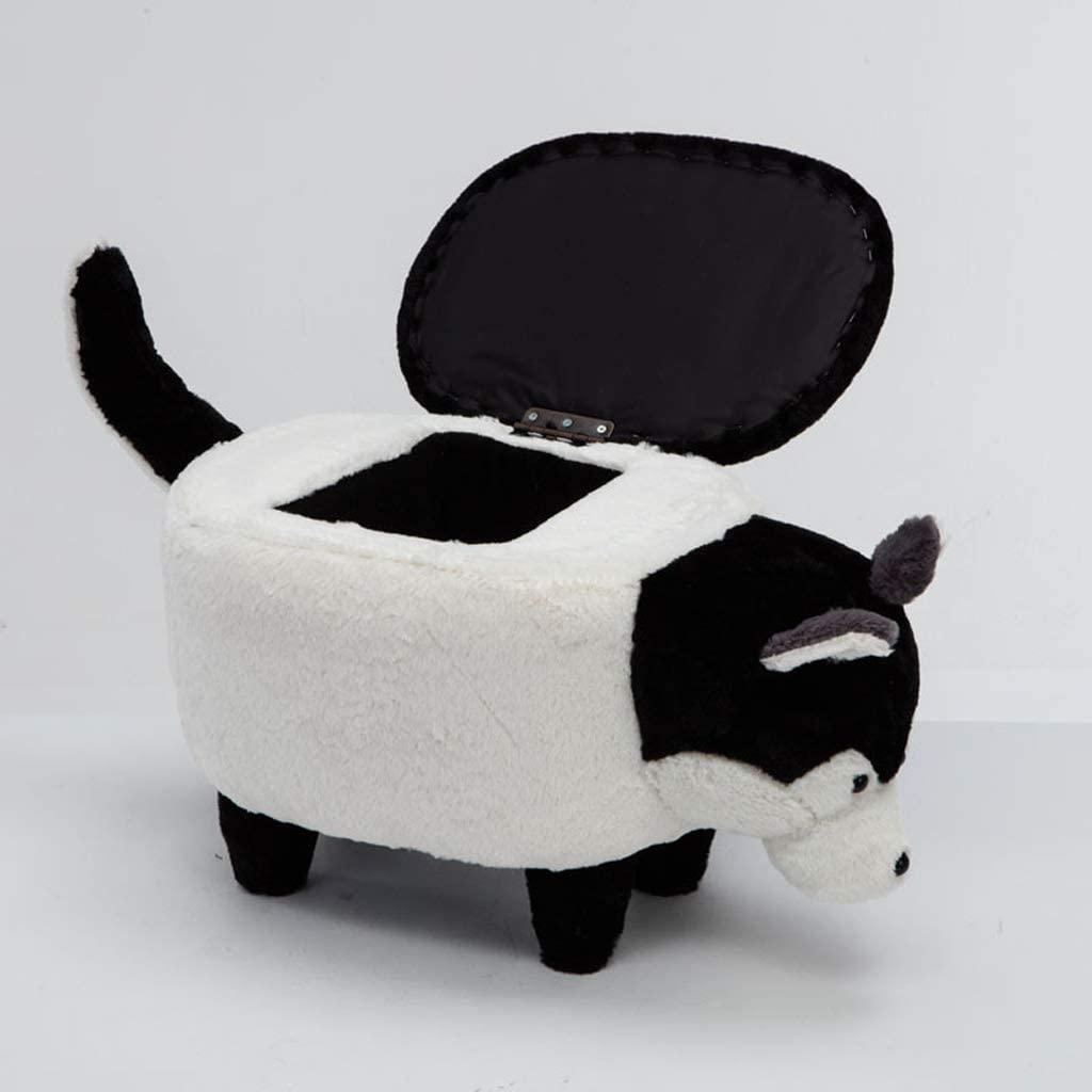 Stools Cute Cartoon Wooden Stool Husky Shaped Animal Storage Ottoman Footrest Stool (Color : Black, Size : 2)