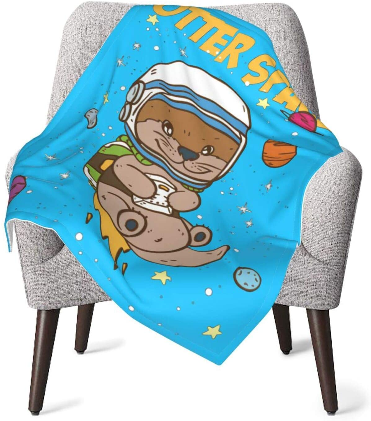 Otter Space Baby Fluffy Blanket Double Layer White Backing Bubble Guppies Blankets for Newborn Girls, Boys