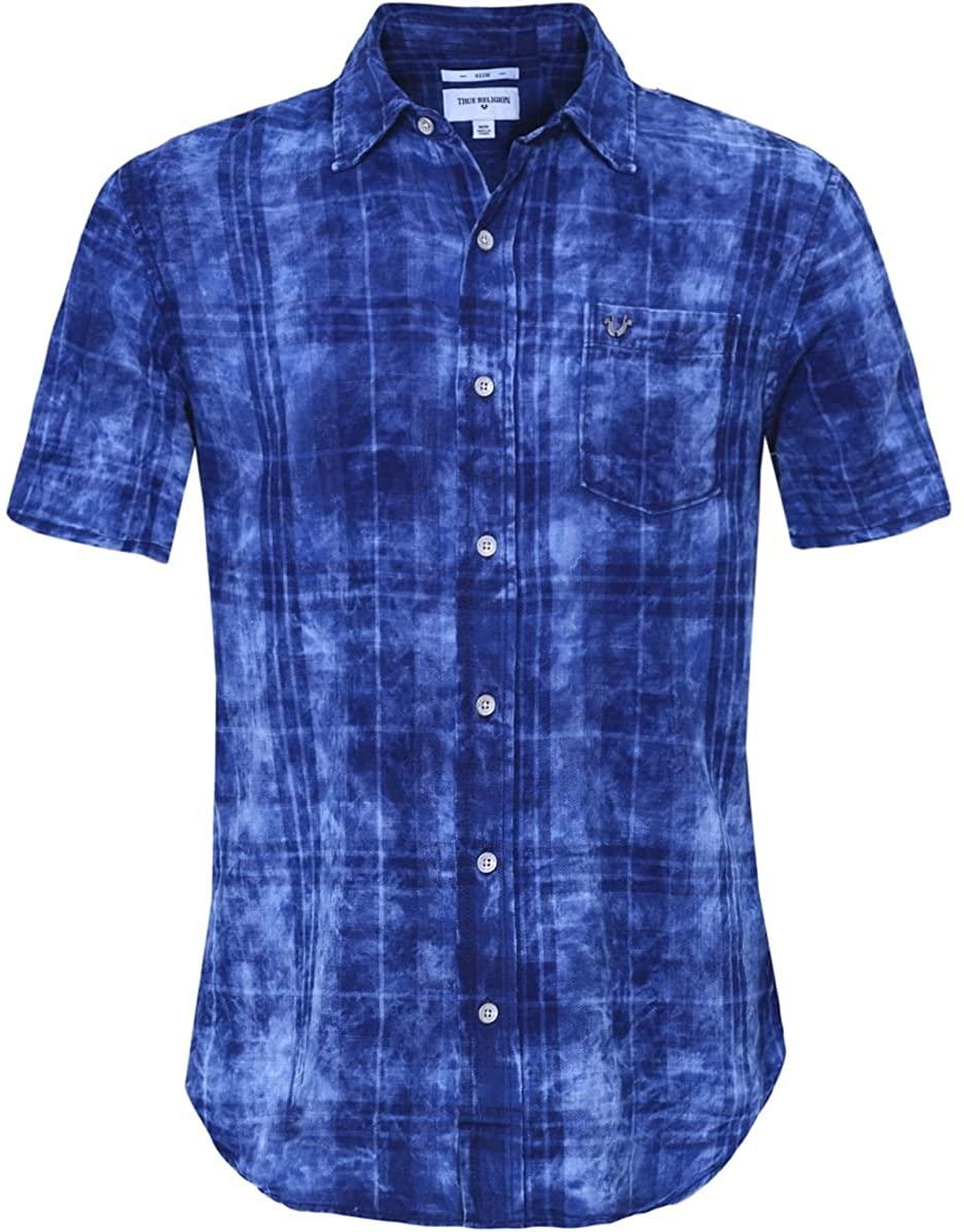 True Religion Slim Fit Short Sleeve Plaid Shirt