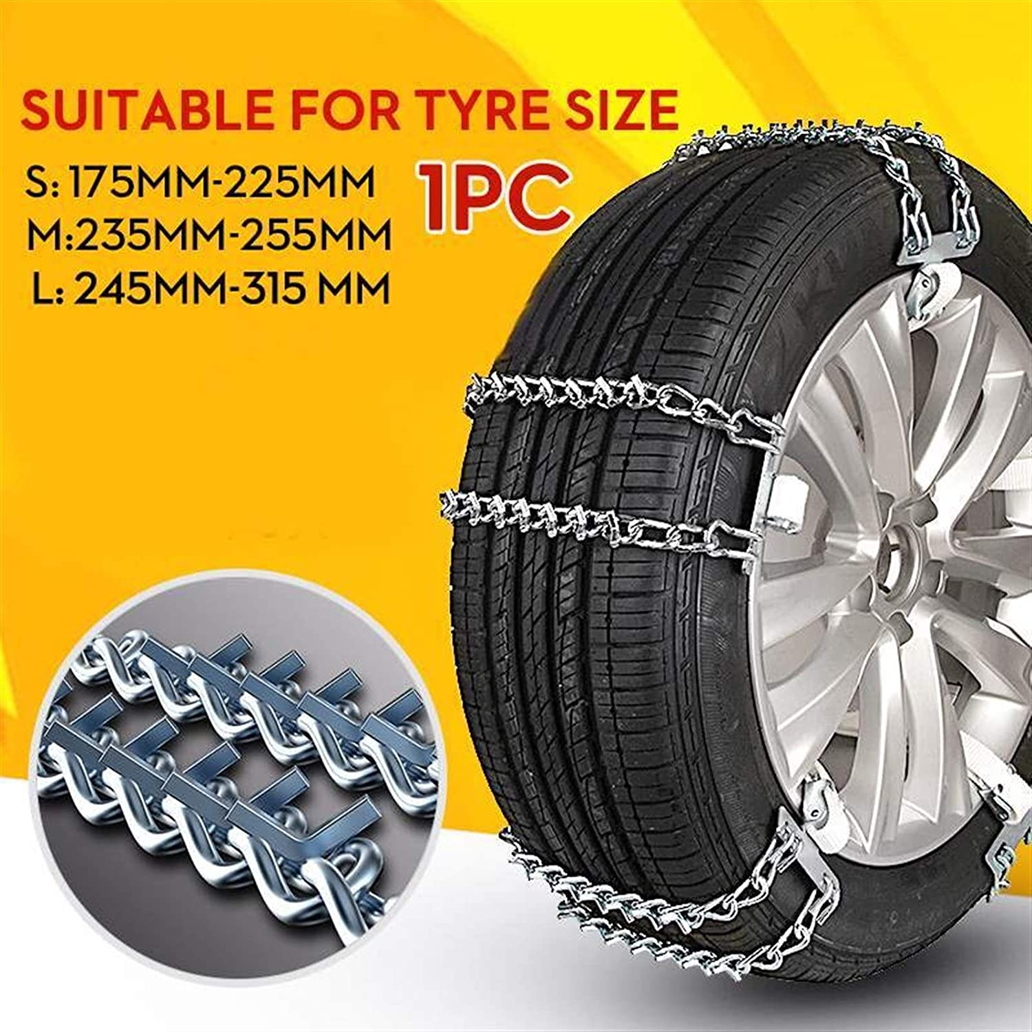 3 Size Car Snow Chains Tire Tire Wheel Anti-Skid Chain Adjustable Wear-Resistant Steel Winter Use Ice Snow Mud Road Safety,Solid and Safe 117 (Color Name : L 245 to 315mm)
