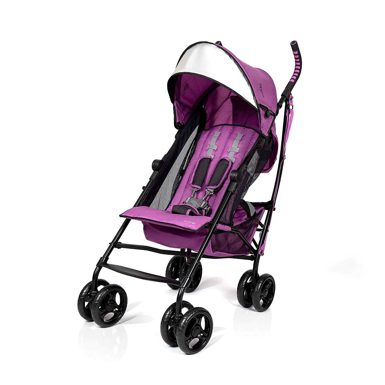 Summer 3Dlite Convenience Stroller, Orchid – Lightweight Stroller with Aluminum Frame, Large Seat Area, Mesh Siding, 4 Position Recline, Extra Large Storage Basket – Infant Stroller for Travel & More